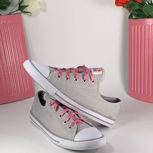 Converse All Star Low Top Canvas Gray/Pink Size 7